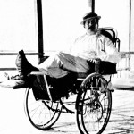 Italian composer Giacomo Puccini in a bath chair after breaking his leg in 1903