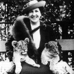 German soprano Frida Leider with lion cubs at Berlin Zoo