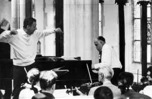 Britten and Richter rehearsing Mozart Concerto in Blythburgh Church 1965