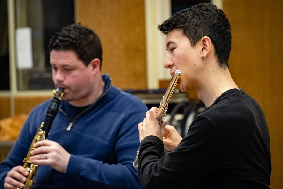 Clarinettist Peter Cigleris and flautist Dan Shao
