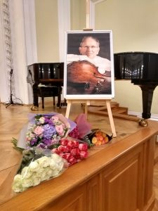 Alexander Ivashkin's portrait onstage at the Large Hall of the Moscow Conservatoire
