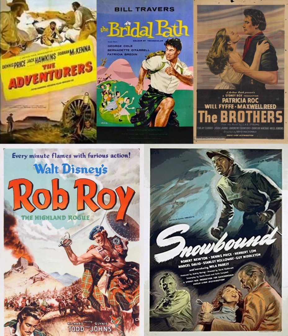 Posters for some of the many films with scores by Cedric Thorpe Davie