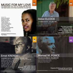 December 2018 Toccata Releases - Music for My Love Vol 2, Steve Elcock Chamber Music, Ernst Krenek Chamber Music and Songs, and Manuel M. Ponce Orchestral Music