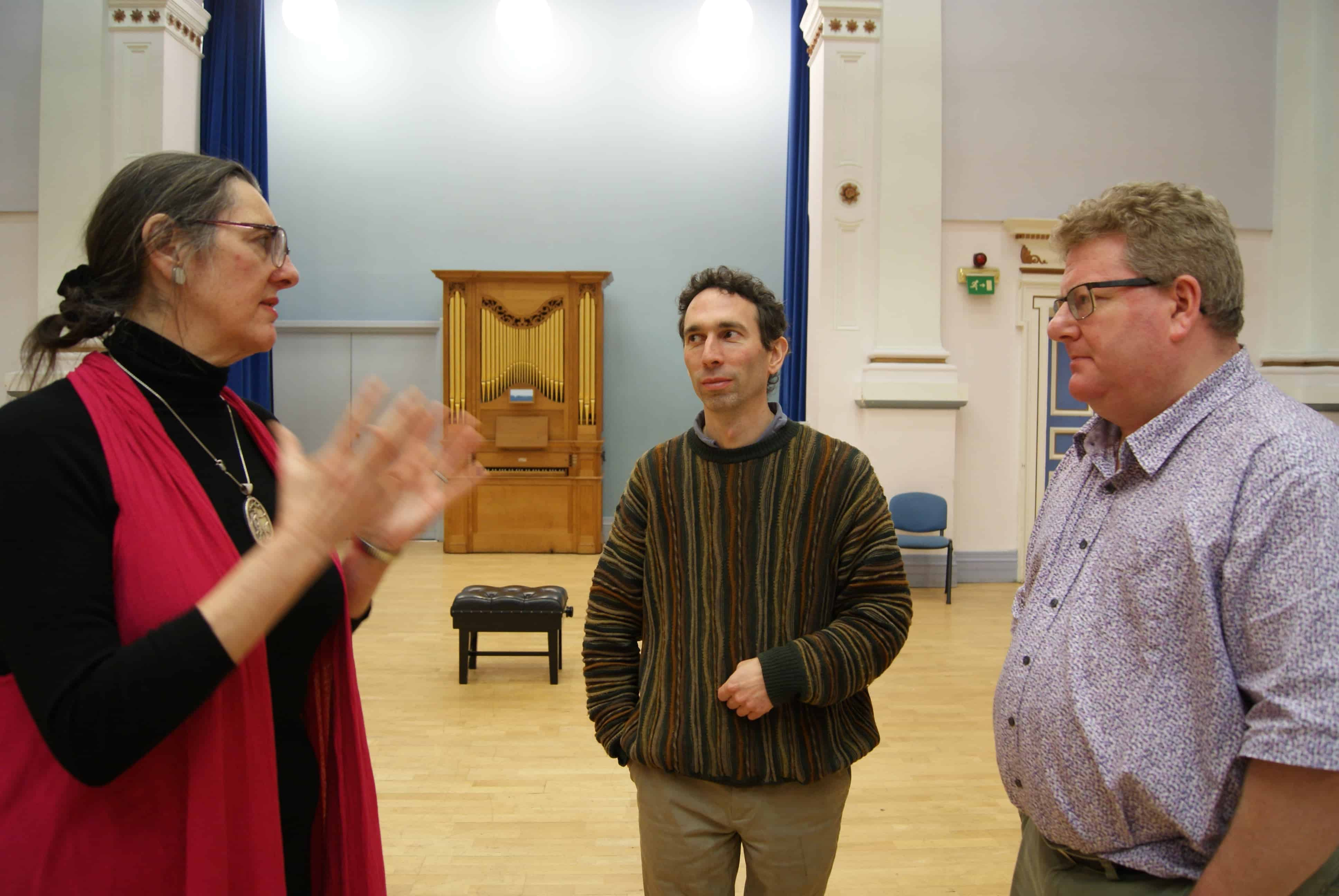 Conductor Bridget Budge, producer Simon Fox and Stephen Muir in conversation